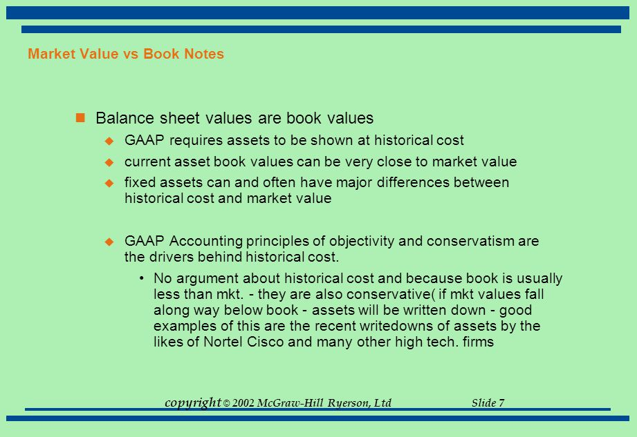 Market Value vs Book Notes