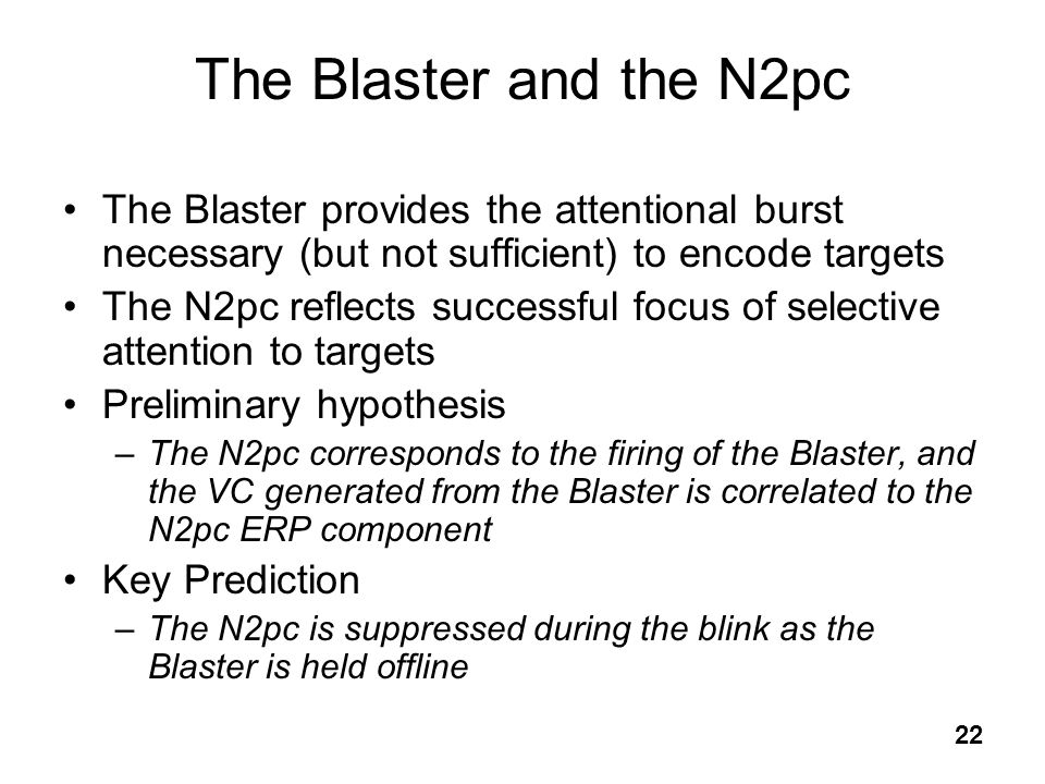 The Blaster and the N2pc The Blaster provides the attentional burst necessary (but not sufficient) to encode targets.