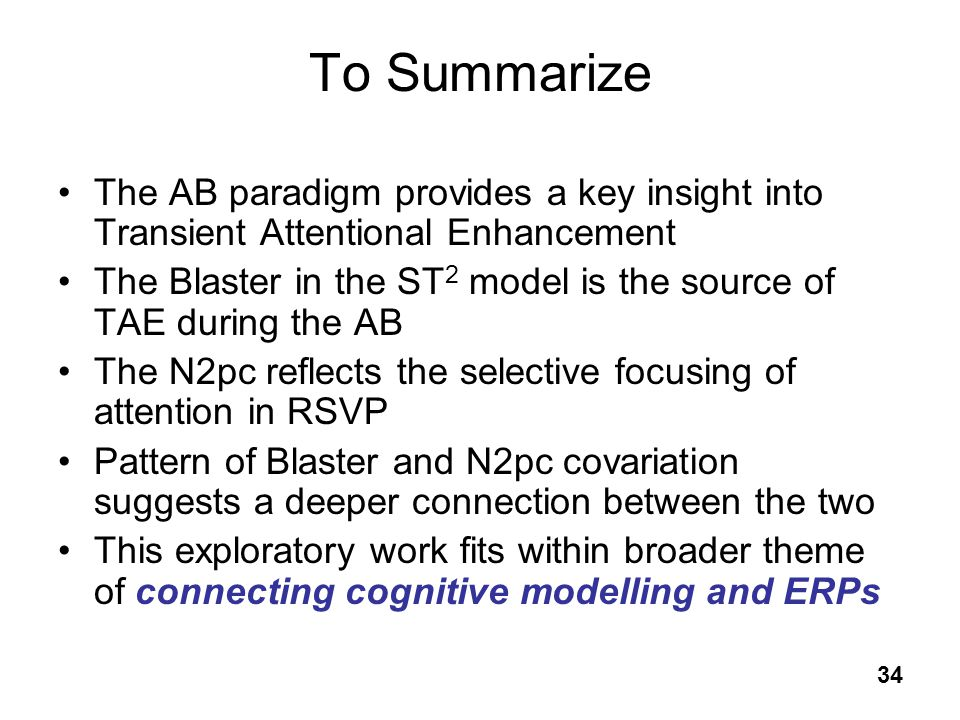To Summarize The AB paradigm provides a key insight into Transient Attentional Enhancement.