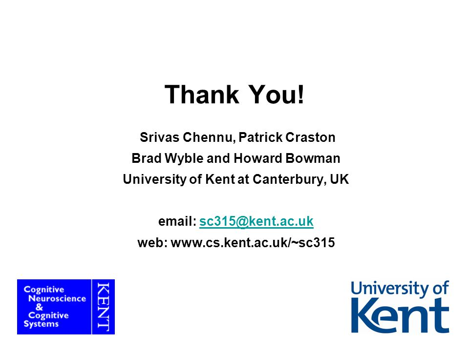 Thank You! Srivas Chennu, Patrick Craston Brad Wyble and Howard Bowman