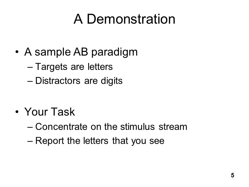 A Demonstration A sample AB paradigm Your Task Targets are letters