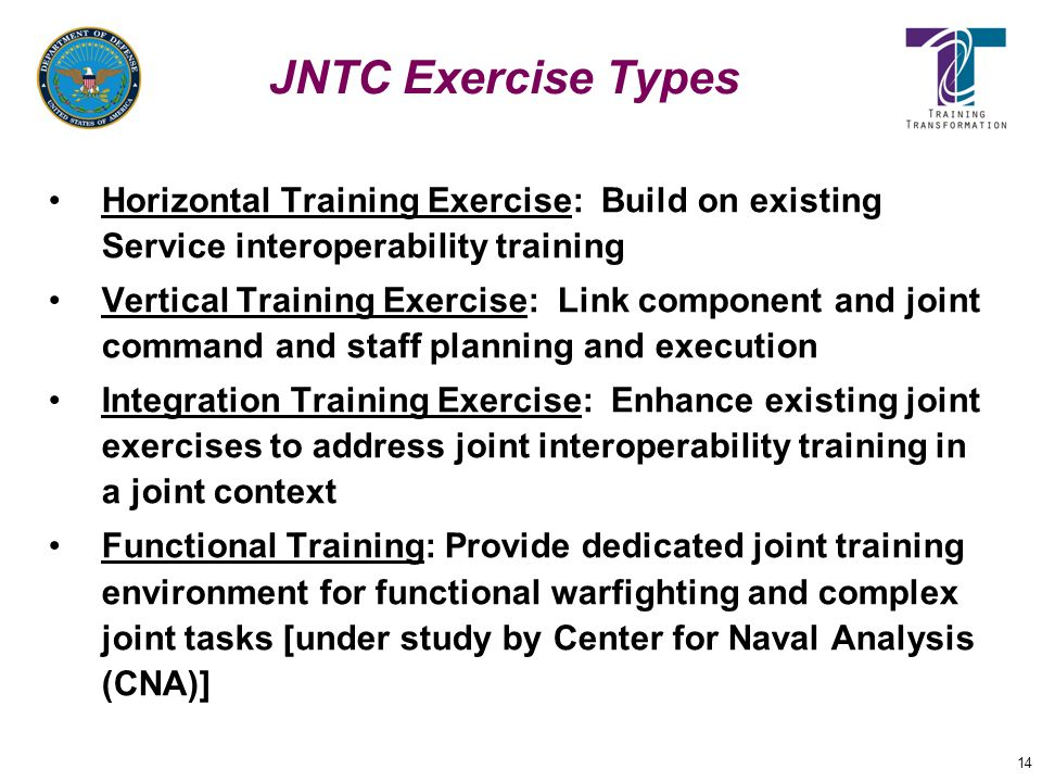JNTC Exercise Types Horizontal Training Exercise: Build on existing Service interoperability training.