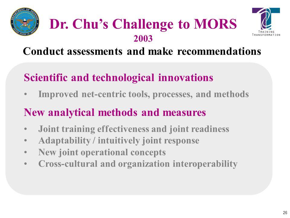 Dr. Chu's Challenge to MORS