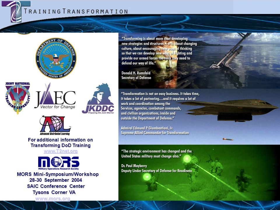 For additional information on Transforming DoD Training