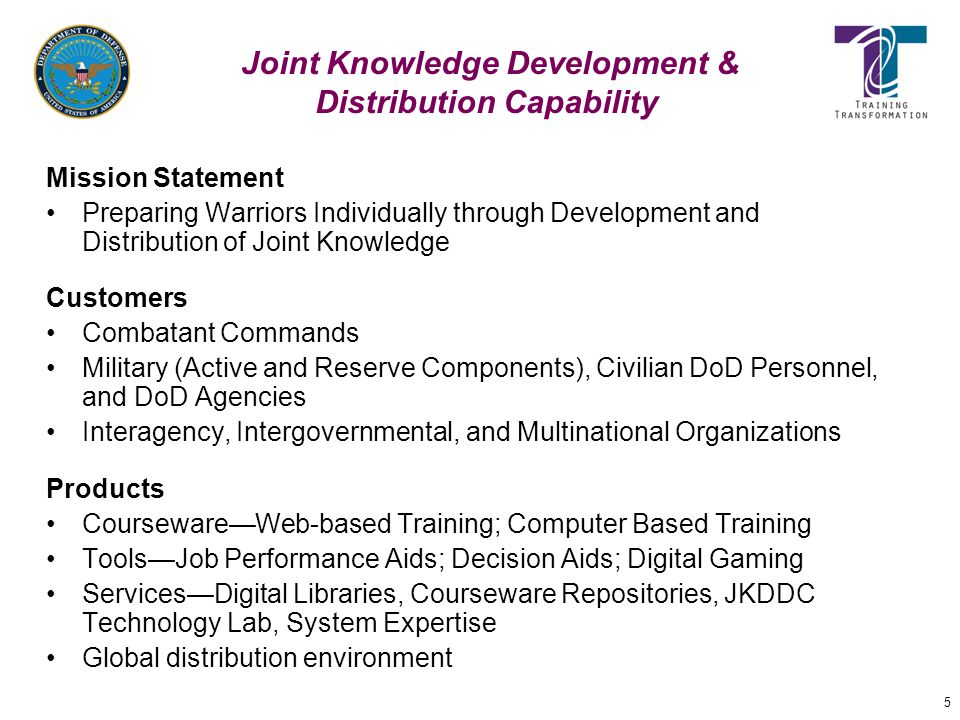 Joint Knowledge Development & Distribution Capability