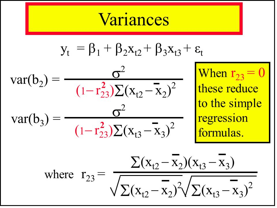 (xt2  x2)(xt3  x3) (xt2  x2)2 (xt3  x3)2 Variances 2 2