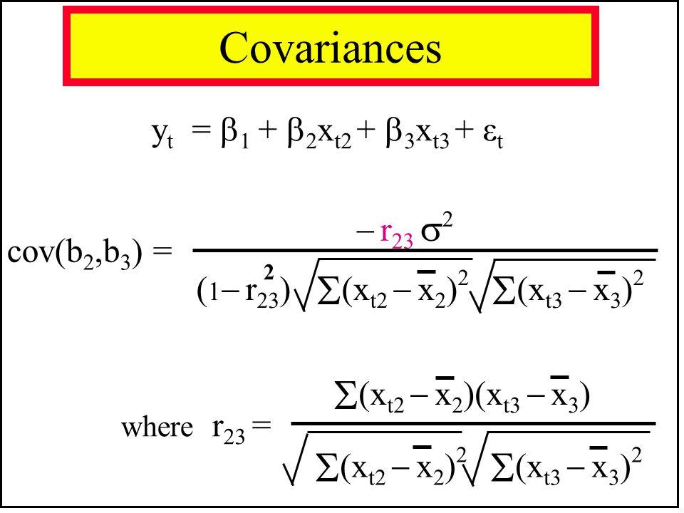 (xt2  x2)(xt3  x3) (xt2  x2)2 (xt3  x3)2 Covariances