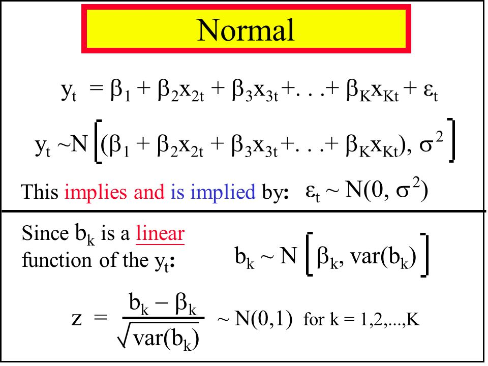 Normal yt = 1 + 2x2t + 3x3t +. . .+ KxKt + εt