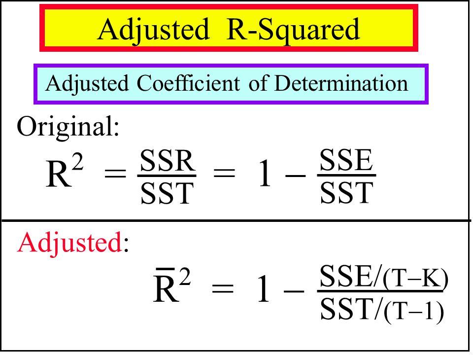 R2 = = 1  R2 = 1  Adjusted R-Squared SSR SSE SST SSE/(TK) SST/(T1)
