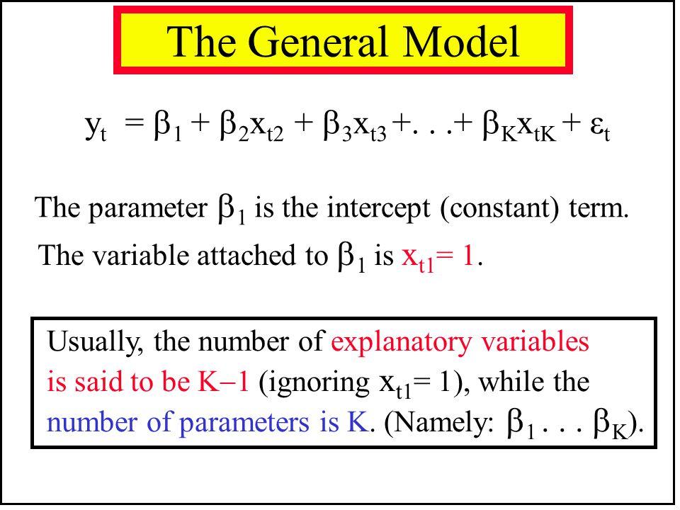 The General Model yt = 1 + 2xt2 + 3xt3 +. . .+ KxtK + εt