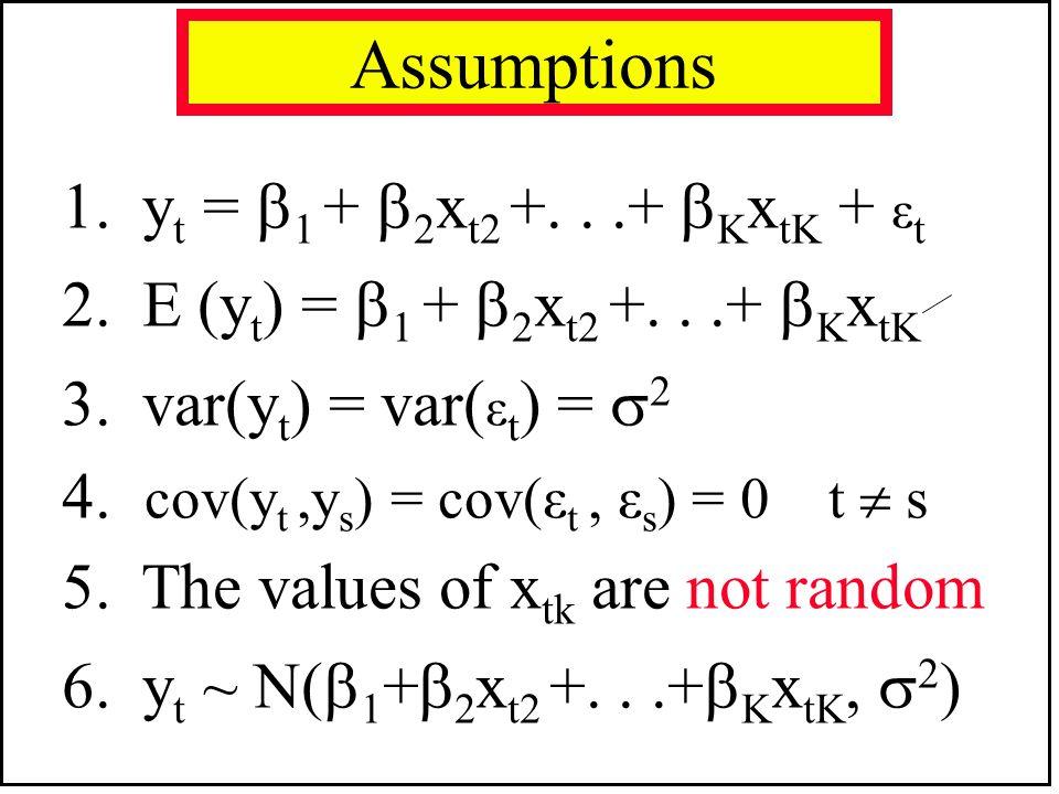 Assumptions 1. yt = 1 + 2xt2 +. . .+ KxtK + εt