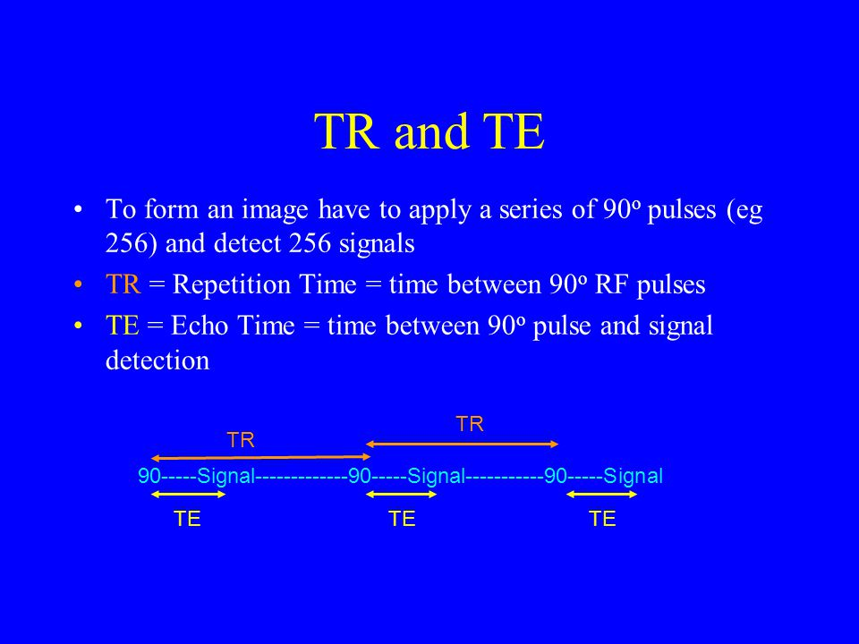 TR and TE To form an image have to apply a series of 90o pulses (eg 256) and detect 256 signals. TR = Repetition Time = time between 90o RF pulses.