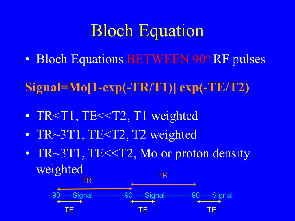 Bloch Equation Bloch Equations BETWEEN 90o RF pulses
