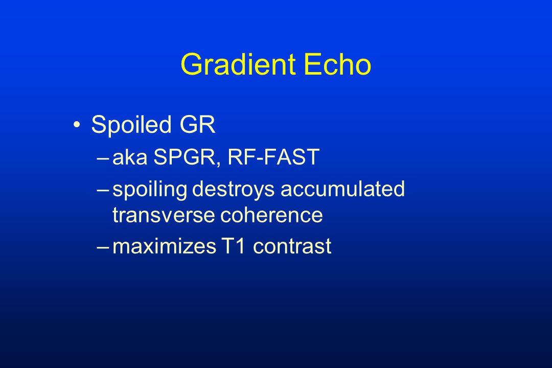 Gradient Echo Spoiled GR aka SPGR, RF-FAST