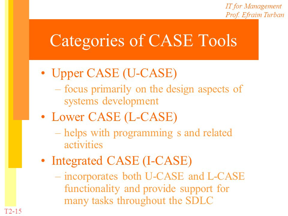 Categories of CASE Tools