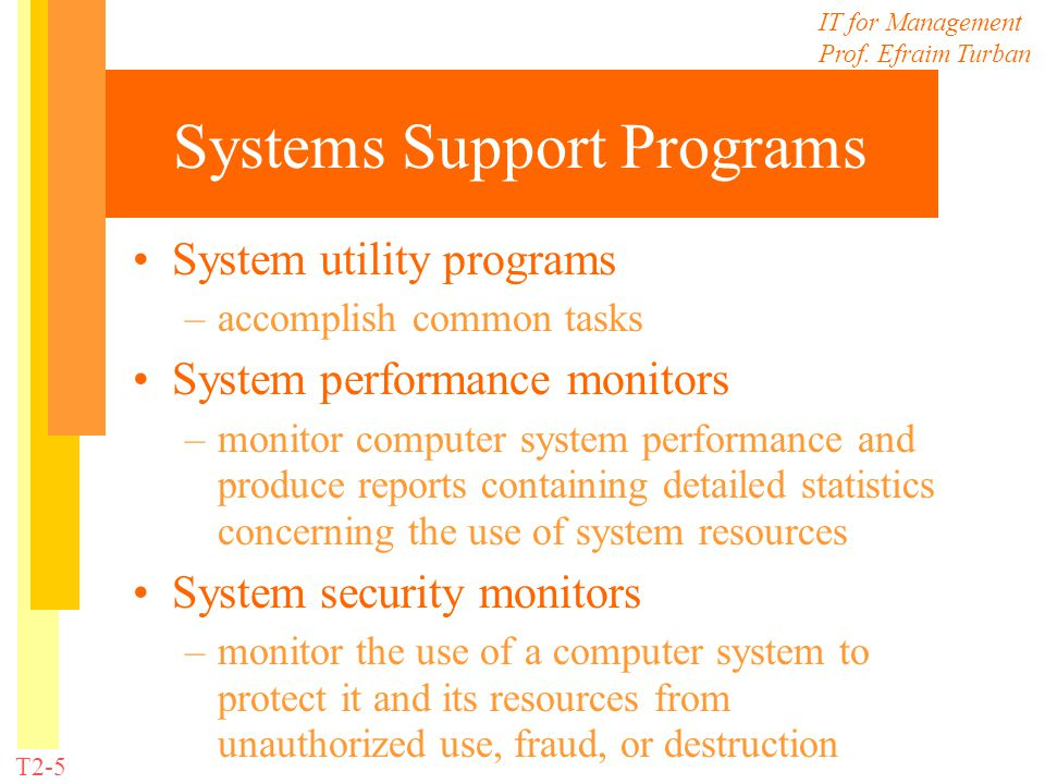 Systems Support Programs