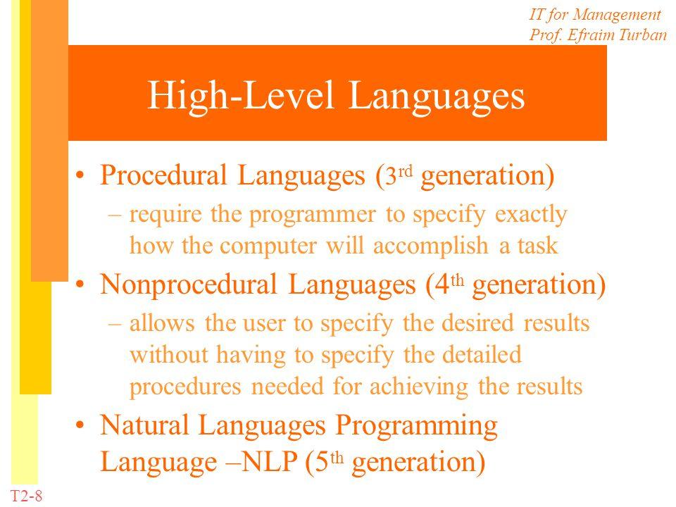 High-Level Languages Procedural Languages (3rd generation)