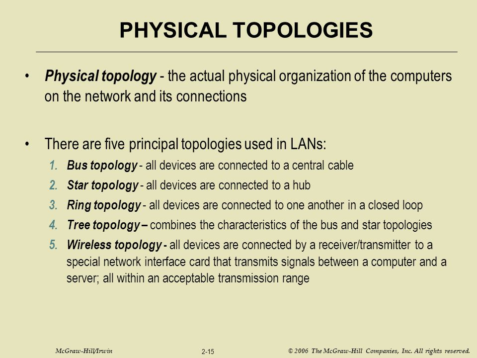 PHYSICAL TOPOLOGIES Physical topology - the actual physical organization of the computers on the network and its connections.