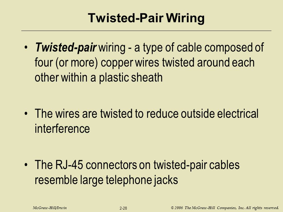 Twisted-Pair Wiring Twisted-pair wiring - a type of cable composed of four (or more) copper wires twisted around each other within a plastic sheath.