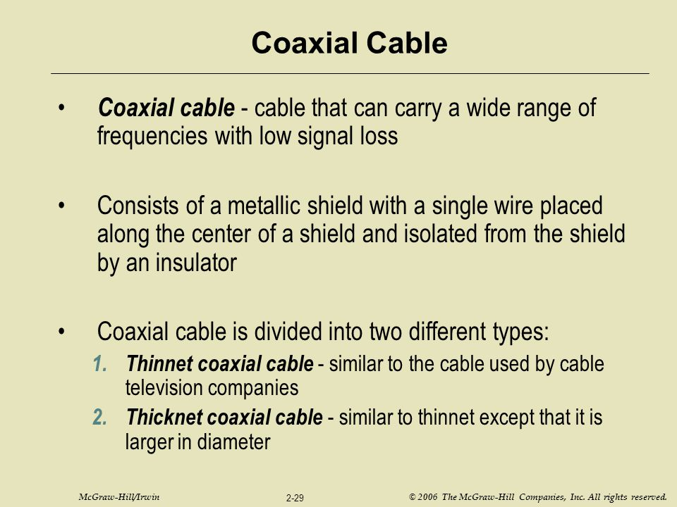 Coaxial Cable Coaxial cable - cable that can carry a wide range of frequencies with low signal loss.