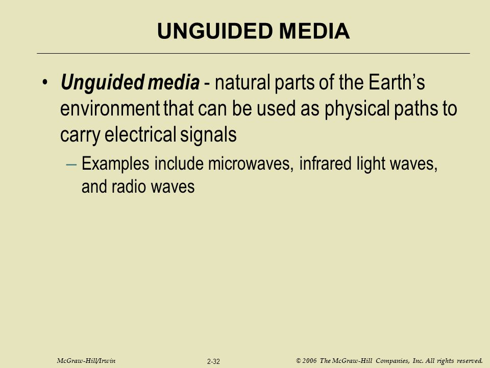 UNGUIDED MEDIA Unguided media - natural parts of the Earth's environment that can be used as physical paths to carry electrical signals.