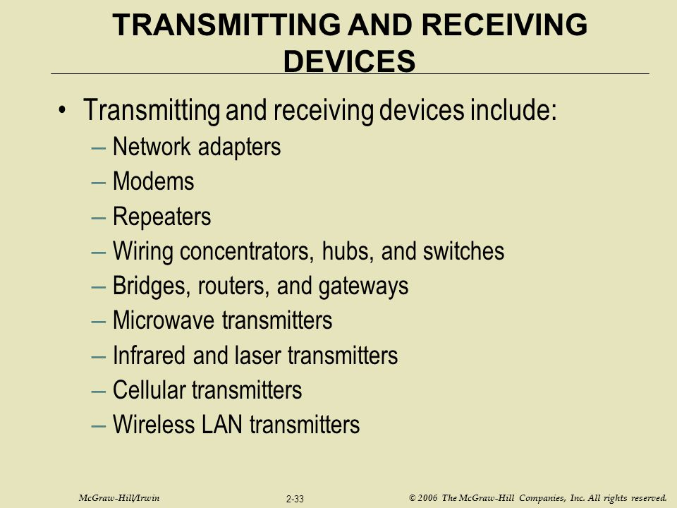 TRANSMITTING AND RECEIVING DEVICES