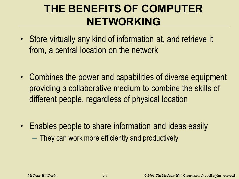 THE BENEFITS OF COMPUTER NETWORKING