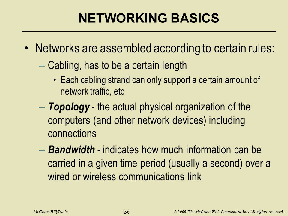 Networks are assembled according to certain rules: