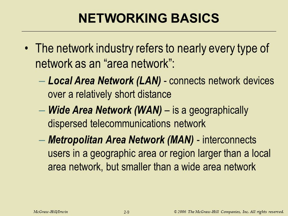 NETWORKING BASICS The network industry refers to nearly every type of network as an area network :