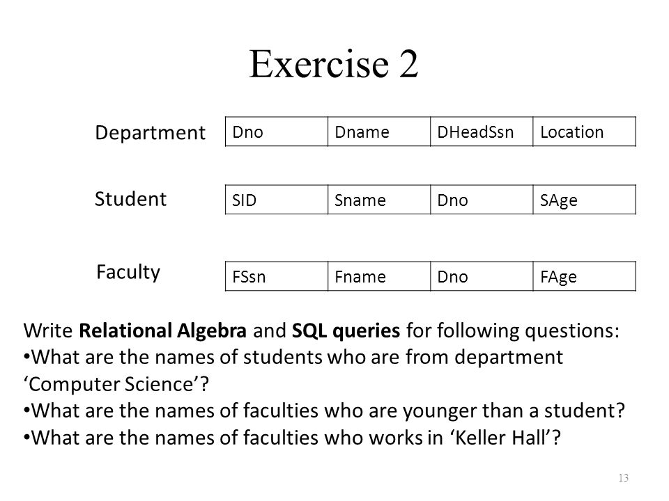 Exercise 2 Department Student Faculty