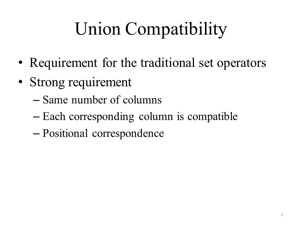 Union Compatibility Requirement for the traditional set operators