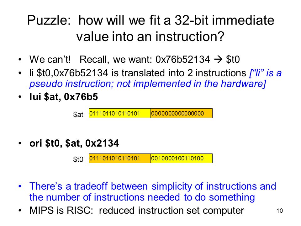 Puzzle: how will we fit a 32-bit immediate value into an instruction