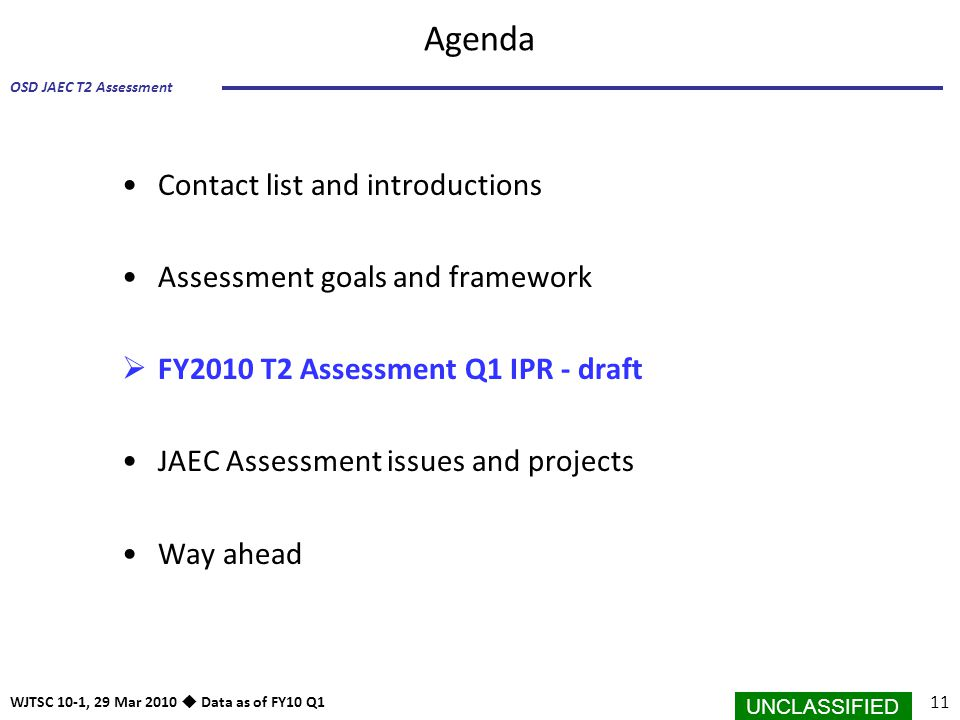 Agenda Contact list and introductions Assessment goals and framework