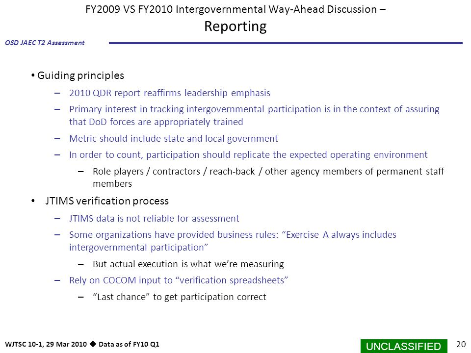 FY2009 VS FY2010 Intergovernmental Way-Ahead Discussion – Reporting