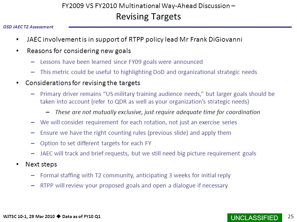 FY2009 VS FY2010 Multinational Way-Ahead Discussion – Revising Targets