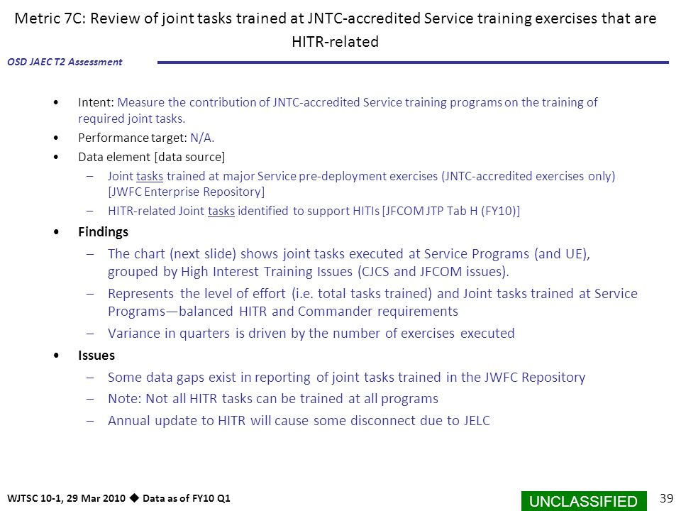 Metric 7C: Review of joint tasks trained at JNTC-accredited Service training exercises that are HITR-related