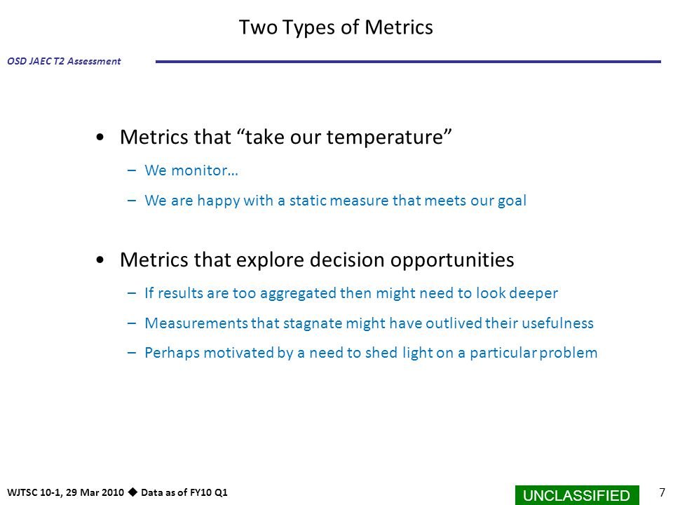 Metrics that take our temperature