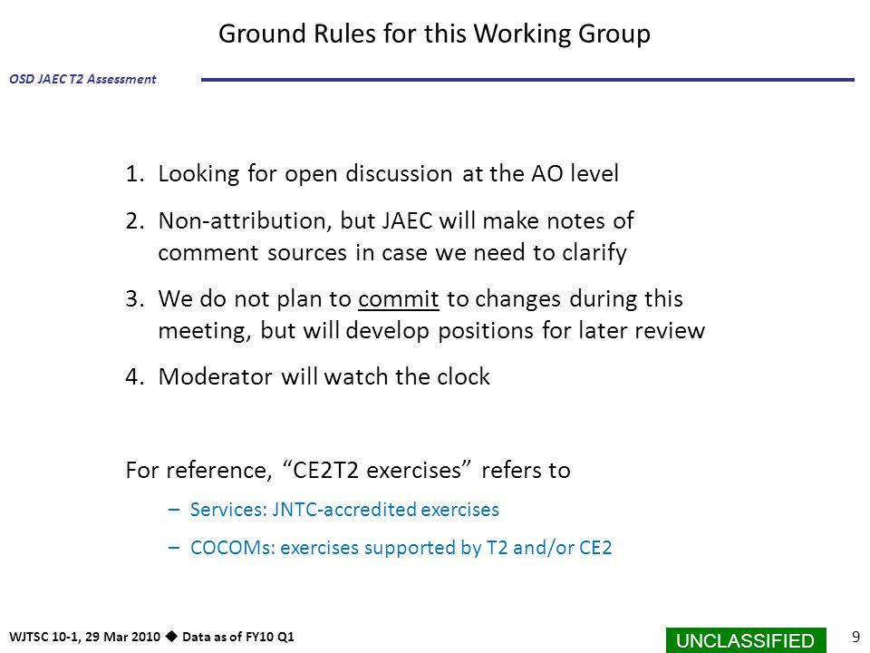 Ground Rules for this Working Group