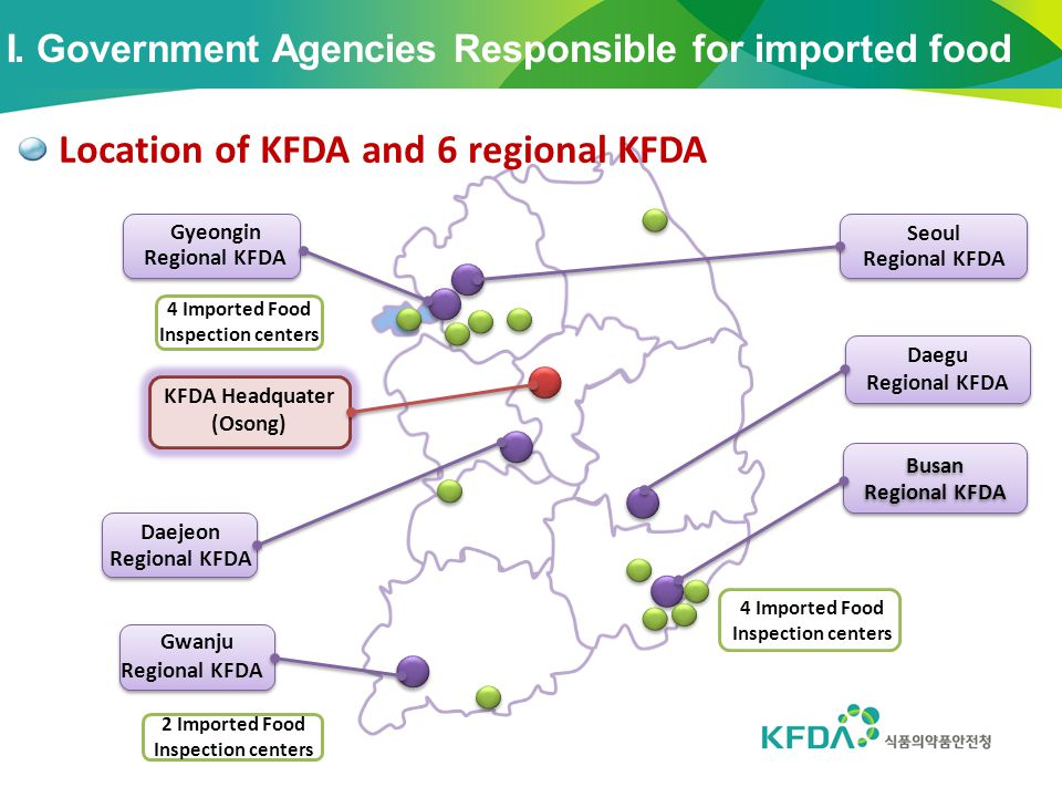 Location of KFDA and 6 regional KFDA