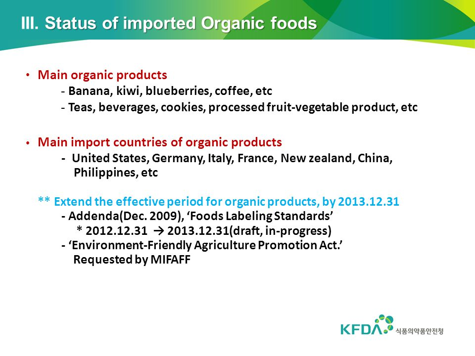 III. Status of imported Organic foods