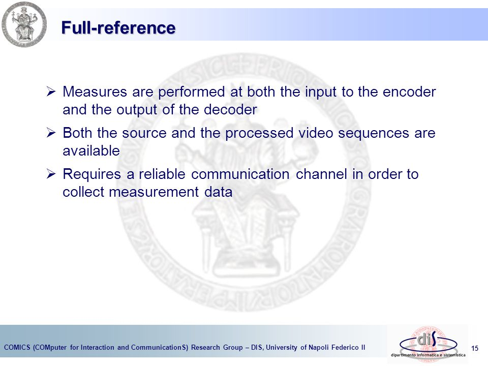 Full-reference Measures are performed at both the input to the encoder and the output of the decoder.