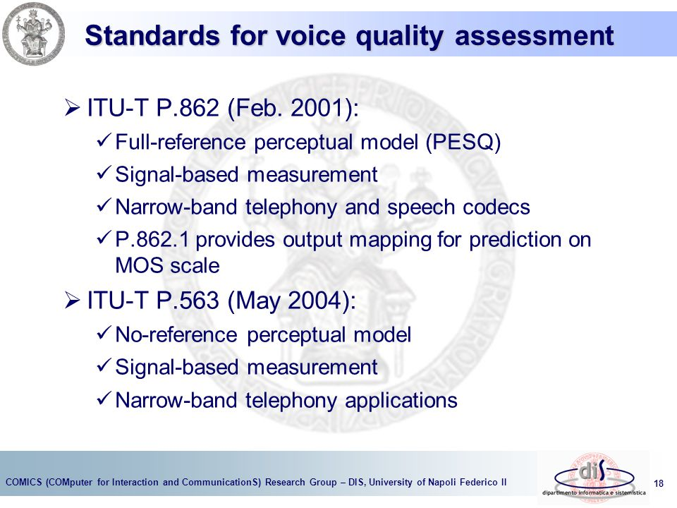 Standards for voice quality assessment