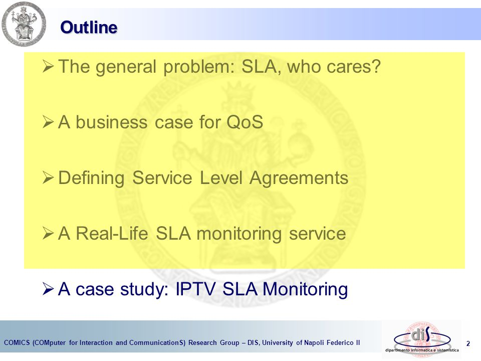 The general problem: SLA, who cares A business case for QoS