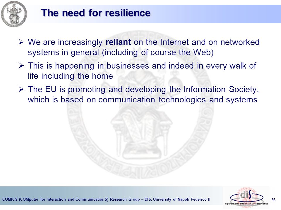 The need for resilience