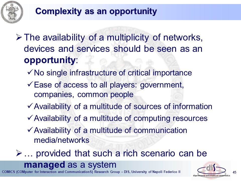 Complexity as an opportunity