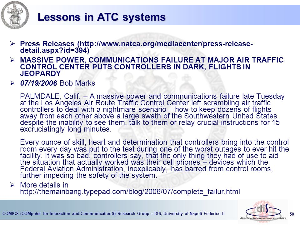 Lessons in ATC systems Press Releases (http://www.natca.org/mediacenter/press-release- detail.aspx id=394)