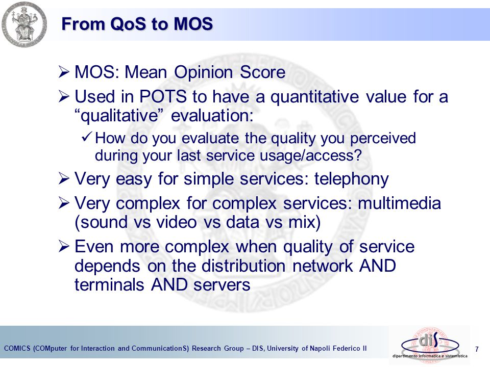 MOS: Mean Opinion Score