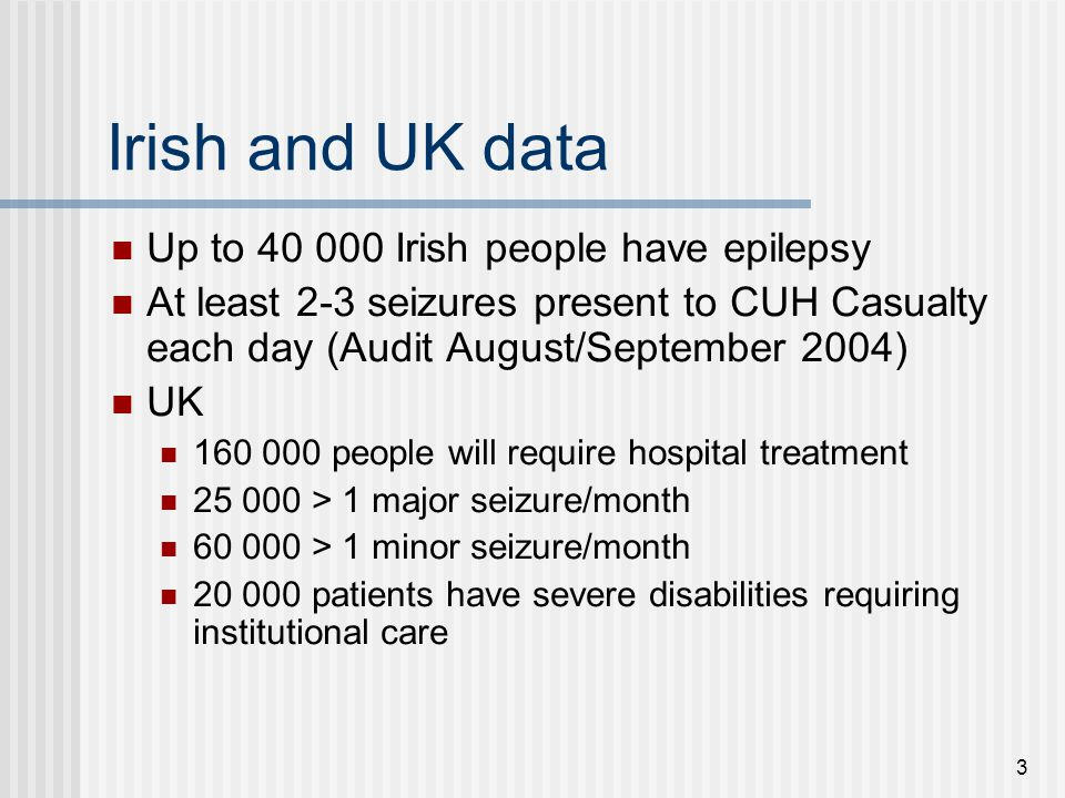 Irish and UK data Up to 40 000 Irish people have epilepsy