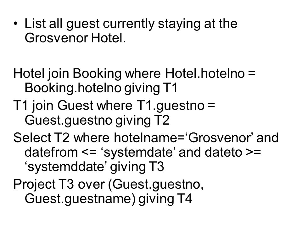 List all guest currently staying at the Grosvenor Hotel.