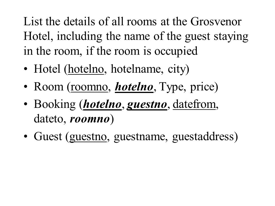 List the details of all rooms at the Grosvenor Hotel, including the name of the guest staying in the room, if the room is occupied
